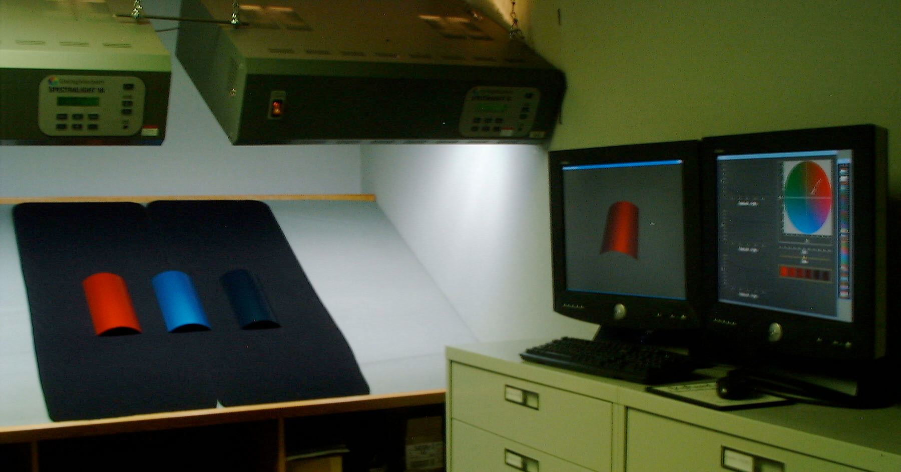 Controlled Lighting for Comparison between Computer Display and manufactured paint prototypes used a SpectraLight Color temperate and spectrum controlled lamp